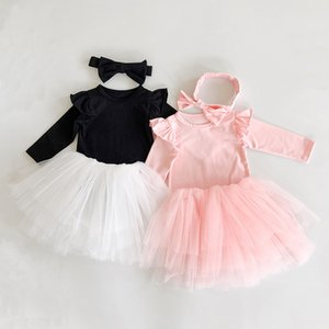 Wholesale cute fall outfit resale online - Online Baby Girl Clothes Sets Pieces Little Girl Fashion Suit Long Sleeve Romper Tutu Dresses with Headband Cute Fall Outfits