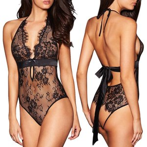 Sexy Lingerie Backless Lace Babydoll Open Crotch Underwear Black Lingerie Rhinestone Bra Straps Extenders Shoulder Cross New A30 C19010801