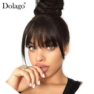 Brazilian Human Hair Blunt Bangs Clip In Human Hair Extension Natural Black Dolago 100% Virgin Hair Products on Sale