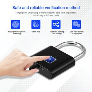 Wholesale Fingerprint lock smart lock padlock automatic intelligent fingerprint door, luggage fingerprint lock for gate outdoor Safety