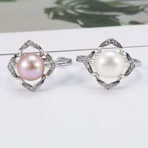 бесплатный пасьянс оптовых-jewelry S925 sterling silver rings pearl solitaire rings square shape for women hot fashion free of shipping