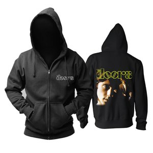 Wholesale Bloodhoof NEW THE DOORS BAND CONCERT MUSIC Heavy Metal Logo Men s Black cotton hoodie Asian Size