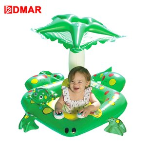 Wholesale DMAR Inflatable Frog Pool Float With Canopy for Kids Baby Boat Swimming Ring Lifebuoy Beach Sea Mattress Water Party Toys