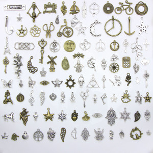 Assorted 100 Designs Snowflake Christmas Tree Skull Moon Star Key Clock Crown... Charms Pendants DIY Necklace Bracelet Jewelry 100pcs bag