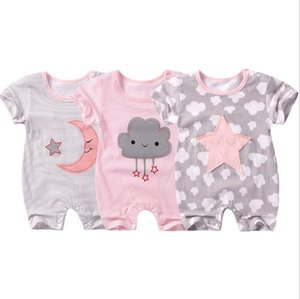 Wholesale Baby Rompers Cotton Kids Jumpsuits Striped Infant Climbing Clothes Short Sleeve Newborn Outfits Summer Kid Clothing Cloud Star Moon YW3075