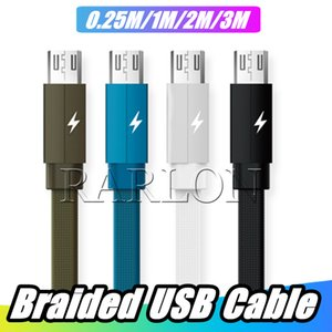 Wholesale New Braided Micro USB Cable Type C Cable M M M for Android High Speed Phone Charger Sync Data Cord for Samsung LG Supporting A Current