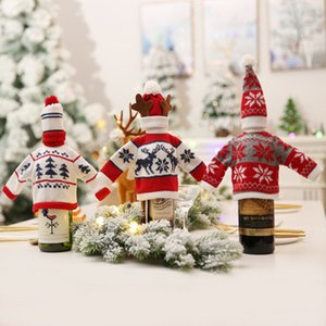 Wholesale Red Wine Bottle Cover Bags Hold Bottle Doll Cover Christmas Decorations home Dinner Table Party Decor Clothes With Hats EEA793