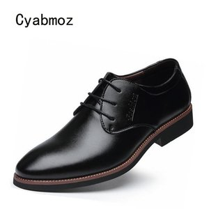 мужская повязка оптовых-Cyabmoz New Fashion Man Shoes Lace up Business Black Brown Men s Party Dress Wedding Office Work PU Leather Men Shoes