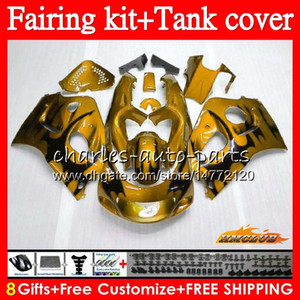 Body+Tank For SUZUKI SRAD GSXR750 GSXR-600 R750 golden flames 64NO.131 GSXR 750 600 1996 1997 1998 1999 2000 GSXR600 96 97 98 99 00 Fairing