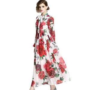 Wholesale Lady Chiffon Dress Summer Runway Maxi Dresses Plus Size Women s Long Flare Sleeve Elegant Bow Rose Floral Print Long Dress