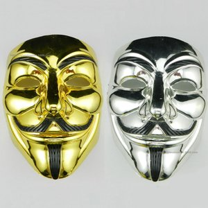 Wholesale PVC Halloween V Word Electroplating Unisex Mask Cosplay Costume Movie Stars Party Stage Mask