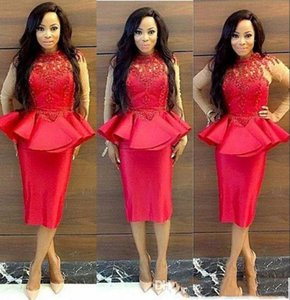 Sexy High Neck Red Lace Applique Prom Dress With Peplum Sheer Long Sleeve Evening Gowns Plus Size Women Formal Wear on Sale
