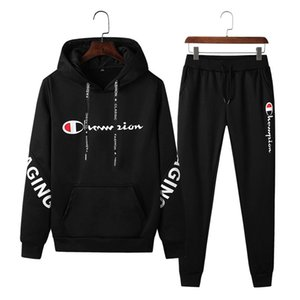 Men Champions Hoodies Tracksuit Hooded Fleece Sweatshirt Pullover + Pants Trousers 2 Piece Set Mens Design Outfits Winter Suit Clothing on Sale