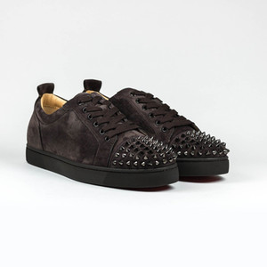 Wholesale Dark Brown Suede With Rivets Toe Low Top Spiked Sneakers Red Bottom Designers Luxury Men s Top Quality Junior Spikes Flats Dress Shoes