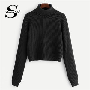 Wholesale Sheinside Black Coffee Crop Sweater Women Pullovers Roll Neck Raglan Sleeve Jumper Fall Winter Tops For Womens Knitted Sweaters