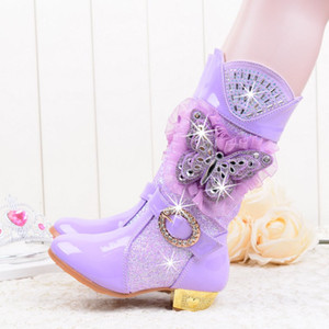 Wholesale 2018 Girls Knee High Glitter Sequins Rhinestone Princess High Heeled Snow Boots with Butterfly Plush Party shoes pink Lace