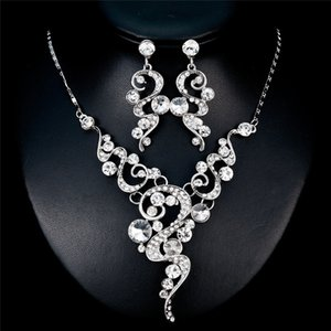 Fashion Women's Crystal Rhinestone Wedding Jewelry Set White K Rhinestone Necklace Earrings Costume Jewelry Sets for Women Gifts