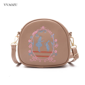 Alice In Wonderland Embroidery Shoulder Bags Lolita Handbag Anime Cosplay PU Leather Messenger Bag for Women Totes Purse