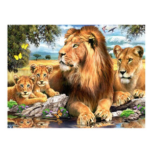 Wholesale 5D DIY Diamond Painting Lions Family Cross Stitch square Rhinestone Pictures of Crystal Diamond Embroidery Patchwork