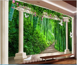 Wholesale bamboo for gardens resale online - WDBH d photo wallpaper custom mural European bamboo forest rose garden space background wall Home decor wallpaper for walls d
