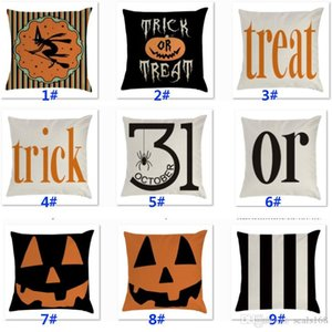 Wholesale Halloween Trick Pumpkin Pillow Case Linen Throw Pillow Cover For Car Sofa Cushion Treat Stripe Pillowscase Home Decoration HH9