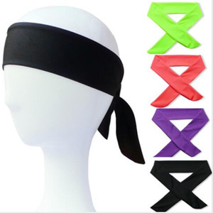 Wholesale 1pcs Cotton Tie Back Headbands Stretch Sports Sweatbands Hair Band Moisture Wicking Workout Bandanas Running Men Women Bands