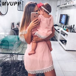 Wholesale mother daughter dress for summer for sale - Group buy MVUPP mother daughter dresses Solid Fashion for mommy and me clothes family look mom baby elegant dress matching outfits summer