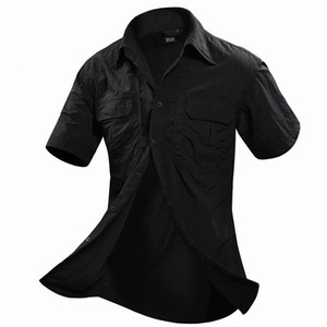 Wholesale Men Summer Outdoor Fast Dry Sunscreen Shirt Male Sports Climbing Short Sleeve Skin Thin Breathable Military Tactical Shirts Tops SH190702