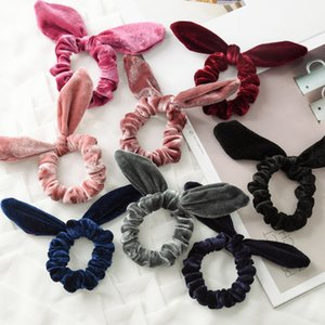 Wholesale Women Girls Velvet Bunny Ears Elastic Hair rope Hair Ties Accessories Ponytail Rabbit ears hairbands Children Scrunchy Hairbands Colors
