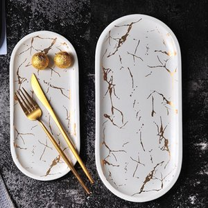 Wholesale inlay jewelry china resale online - European Marble Ceramic Cutlery Set Inlaid Porcelain Dessert Jewelry Plate Steak Salad Cake Dishware