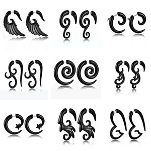 Wholesale 2 Pieces Fashion Acrylic UV Black Ear Spiral Plugs Earring Gauges Punk Ear Taper Expander Tunnel Body Piercing Jewelry Expander