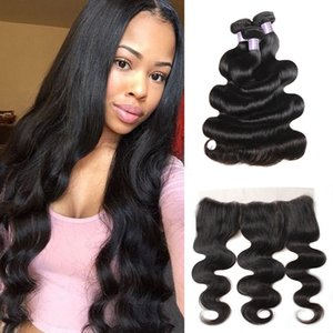 Wholesale Body Wave Indian Virgin Hair Extensions Kinky Straight Curly Human Hair Bundles With Closure Deep Loose Wave With Lace Frontal