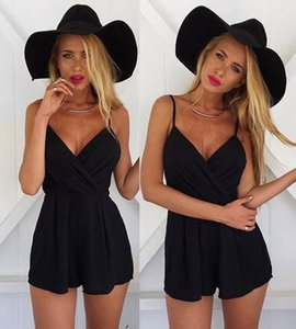 Wholesale Women Black Jumpsuits Designer Summer Beach Casual Short Jumpsuits Deep V neck Spaghetti Strap