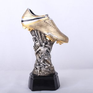 Football Shoes Trophy Model Desktop Craft Gift Home Decor Figurine European Cup Soccer Shoes Trophy Resin Ornament Sports Statue