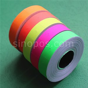 Wholesale Paper Labels Colored For Two line Labeller pricing gun labeler tag sticker roll reel red green yellow price label refill