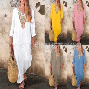 Wholesale Women Deep V-Collar Dress Cotton And Linen Easy Side Slit Longs Sleeves Beach Holiday Long Skirt Popular Garment Hot Selling 40yd J1