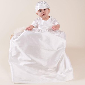Newborn Baby 0-15M Girls Dress Set Solid Back Button Christening Gown Long Style Kids Designer Clothes Baby Outfits with White Hat on Sale