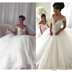Wholesale 2019 Vintage Ball Gown Wedding Dresses Cap Sleeve Lace Appliques Beaded Tulle Bridal Gowns Plus Size Bride Dresses