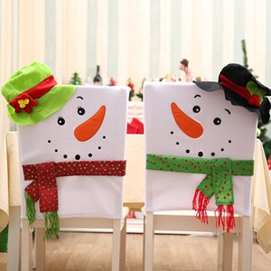 Wholesale Xmas Snowman Ornaments Chair Back Cover Christmas Dinner Table Home Decor