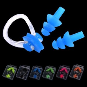 Waterproof Diving Sound Noise Reduction Earplug With Box Swimming Accessories 1 Set Soft Silicone Swim Set Nose Clip Ear Plug on Sale
