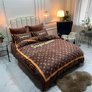 Wholesale Fashion Logo Striep Designer Bedding Cover Sets New Brown Flower Print Bed Sheet Pillowcase Quilt Cover Suit