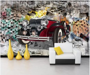 Wholesale 3d cars wallpaper for room for sale - Group buy 3d wallpaper custom photo Nostalgic vintage car through wall bar background living room home decor d wall murals wallpaper for walls d