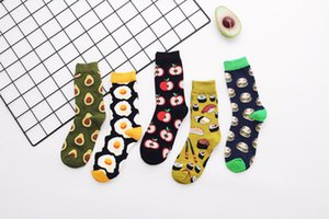 Wholesale apple sock for sale - Group buy Unisex Socks Fashion Cartoon Breathable Egg Apple Avocado Pattern High Quality Cotton Socks