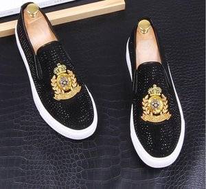 chaussures à crampons achat en gros de-news_sitemap_home2020 Nouveau luxe Dandelion Spikes chaussures plates en cuir strass Mode Hommes broderie Mocassins Robe Chaussures Smoking Slipper chaussures Casual