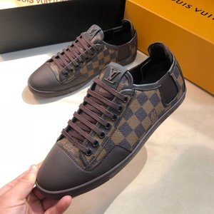 Wholesale Men s Sneaker luxury designer shoe Fashion classic old flower casual flat shoes with top quality brown plaid leather sneakers shoes for men