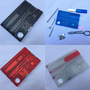 Wholesale Outdoor Camping Beauty Tools Swiss Knife Multi functional Knife Card with LED Light Outdoor Survival Tools colors