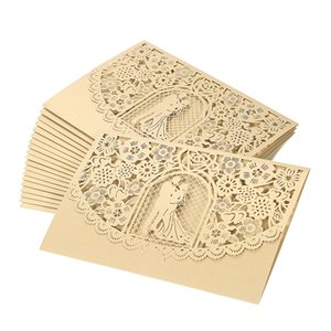 Wholesale Wedding Invitation Card Cover Pearl Paper Laser Cut Bridal Bridegroom Invitation Cards Wedding Anniversary Party Supplies