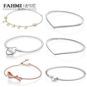 Wholesale silver script for sale - Group buy FAHMI Sterling Silver Shine Loved Script Bracelet Shining Wish Bangle Heart Padlock Clasp MOMENTS Smooth Bracelet