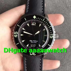 2019 New Luxury Watch Fifty Fathoms Grande Date 5050 Titanium Case HGF Black Dial Sail-canvas Strap Cal. 6918B Automatic movement Men Watch on Sale