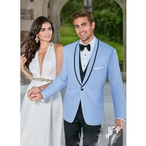 Wholesale Light Blue Slim Fit Men s Formal Suits One Button Shawl Lapel Custom Made Three Pieces Coat Pant Vest For Wedding